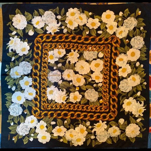 CHANEL vintage silk scarf camellias (Italy)